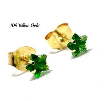 10k Yellow Gold 4mm Star Cut Emerald Stud Earrings Beautifully Dainty