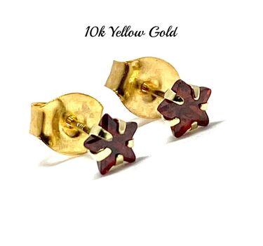 10k Yellow Gold 4mm Star Cut Garnet Stud Earrings Beautifully Dainty