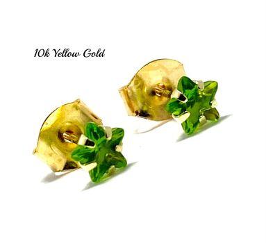 10k Yellow Gold 4mm Star Cut Peridot Stud Earrings Beautifully Dainty