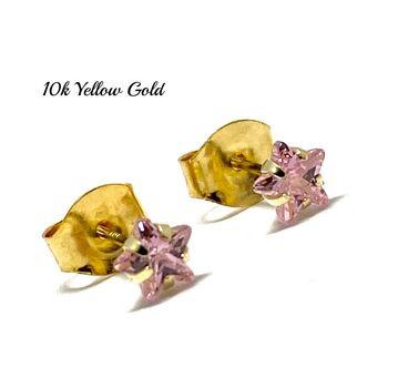 10k Yellow Gold 4mm Star Cut Pink Topaz Stud Earrings Beautifully Dainty