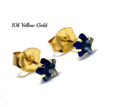 10k Yellow Gold 4mm Star Cut Sapphire Stud Earrings Beautifully Dainty