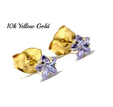 10k Yellow Gold 4mm Star Cut Tanzanite Stud Earrings Beautifully Dainty