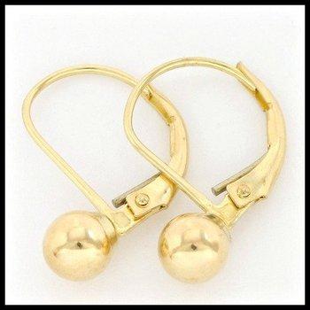10k Yellow Gold 5mm Ball Leverback Earrings