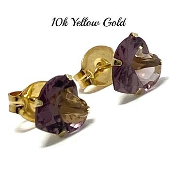 10k Yellow Gold 6mm Alexandrite Heart Cut Stud Earrings