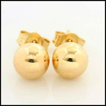 10k Yellow Gold, 6mm Ball Stud Earrings