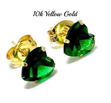 10k Yellow Gold 6mm Emerald Heart Cut Stud Earrings