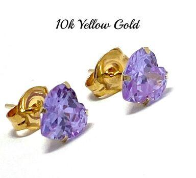 10k Yellow Gold 6mm Lavender Amethyst Heart Cut Stud Earrings