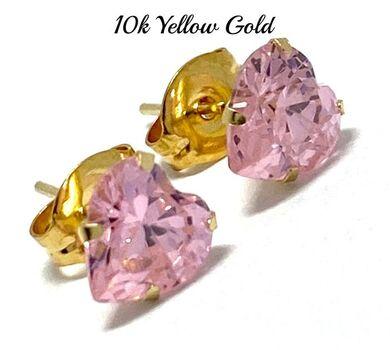 10k Yellow Gold 6mm Pink Topaz Heart Cut Stud Earrings