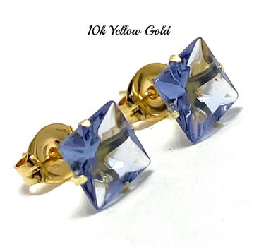 10k Yellow Gold 6mm Square Cut Tanzanite Stud Earrings Beautifully Dainty