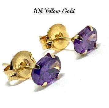 10k Yellow Gold 6x4mm Oval Cut Amethyst Stud Earrings Beautifully Dainty