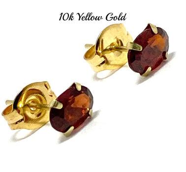 10k Yellow Gold 6x4mm Oval Cut Garnet Stud Earrings Beautifully Dainty