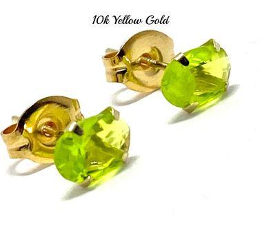 10k Yellow Gold 6x4mm Oval Cut Peridot Stud Earrings Beautifully Dainty