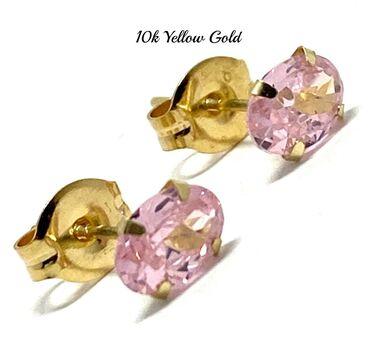 10k Yellow Gold 6x4mm Oval Cut Pink Topaz Stud Earrings Beautifully Dainty