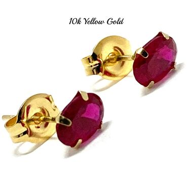 10k Yellow Gold 6x4mm Oval Cut Ruby Stud Earrings Beautifully Dainty