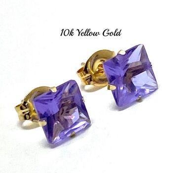 10k Yellow Gold 6x6mm Lavender Amethyst Princes Cut Stud Earrings