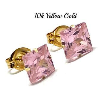 10k Yellow Gold 6x6mm Pink Topaz Princes Cut Stud Earrings