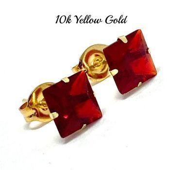 10k Yellow Gold 6x6mm Ruby Princes Cut Stud Earrings