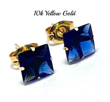 10k Yellow Gold 6x6mm Sapphire Princess Cut Stud Earrings
