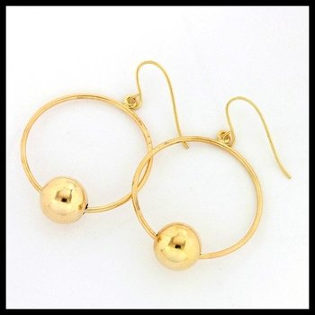 10k Yellow Gold 8mm Ball Hook Earrings