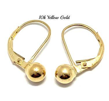 "10k Yellow Gold 9/16"" Long Ball Earrings Beautifully Dainty"