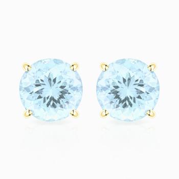 10k Yellow Gold, Aquamarine Stud Earrings