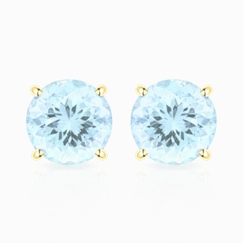 10k Yellow Gold, Aquamarine Stud Earrings