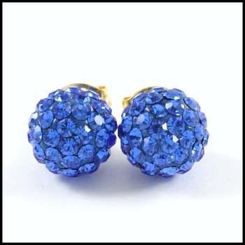 10k Yellow Gold Blue Crystal 8mm in Diameter Stud Earrings