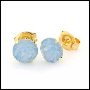 10k Yellow Gold Blue Opal 6mm in Diameter Stud Earrings