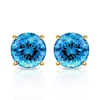 10k Yellow Gold, Blue Topaz Stud Earrings