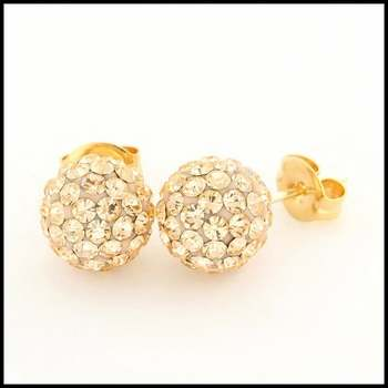 10k Yellow Gold Champagne Crystal 8mm in Diameter Stud Earrings
