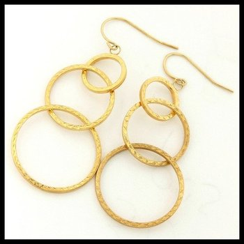 10k Yellow Gold Diamond Cut Earrings