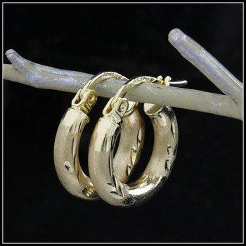 10k Yellow Gold, Diamond Cut Hoop Earrings