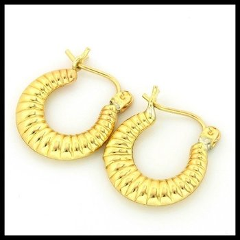 10k Yellow Gold Diamond Cut Hoop Earrings