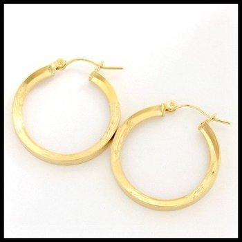 10k Yellow Gold Diamond Cut Hoop Earrings