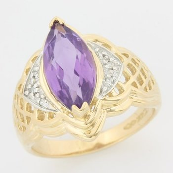 10k Yellow Gold Genuine Amethyst & Diamond Ring Size 8