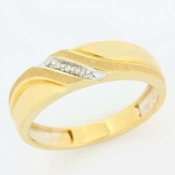 10k Yellow Gold Genuine Diamond Men's Wedding Ring Size 10 1/4