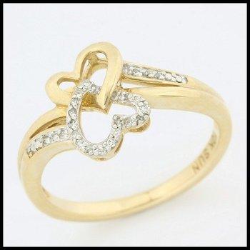 10k Yellow Gold Genuine Diamond Ring Size 7