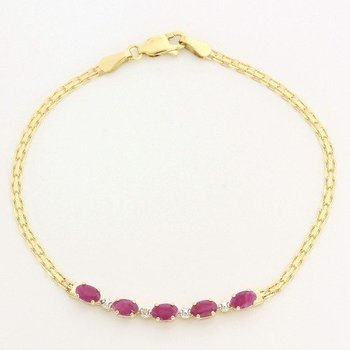 10k Yellow Gold Genuine Ruby & Diamond Bracelet