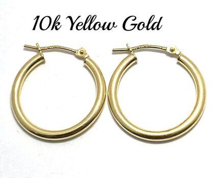 10k Yellow Gold Hoop Earrings For Women or For Girls