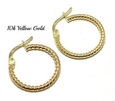 10k Yellow Gold Hoop Earrings For Women OR For Kids