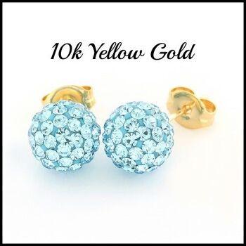 10k Yellow Gold Light Blue Crystal 8mm in Diameter Stud Earrings