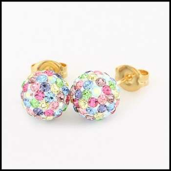 10k Yellow Gold Multicolor Crystal 8mm in Diameter Stud Earrings