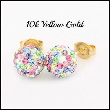 10k Yellow Gold Multicolor Crystal 8mm in Diameter Stud Earrings