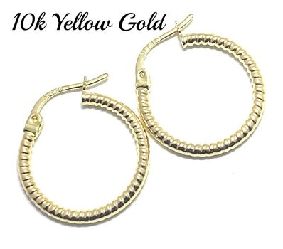 10k  Yellow Gold (Not Plated) Hoop Earrings