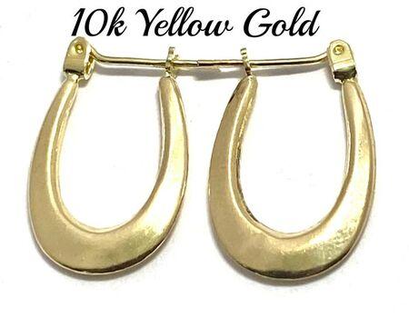 10k Yellow Gold Oval Hoop Earrings For Women