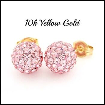 10k Yellow Gold Pink Crystal 8mm in Diameter Stud Earrings
