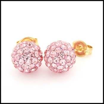 10k Yellow Gold Pink Crystal 8mm in Diameter Stud Earrings