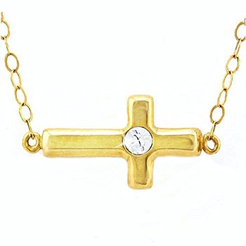 """10k Yellow Gold Round Beautifully Created White Sapphire Sideways Cross Necklace 16"""" Inches"""