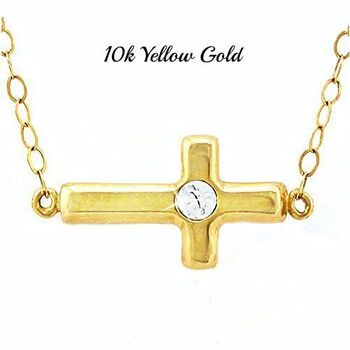 """10k Yellow Gold Round Created White Sapphire Sideways Cross Necklace 16"""" Inches"""