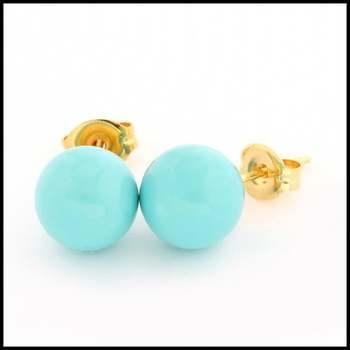 10k Yellow Gold Turquoise 8mm in Diameter Stud Earrings